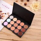 15 Colors Concealer Cream Contour Palette 11 Bamboo Brushes 1 Puff Set H5