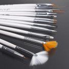 15Pcs Cosmetic Nail Art Polish Painting Draw Pen Brush Tips Tools Set UV Gel HS