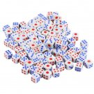 100 pcs 13mm Plastic Household Game White Dice Die Toy With Red & Blue Dots HS
