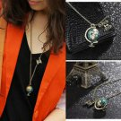 Vintage Antique Fashion Retro Enamel Earth Globe Telescope Necklace Pendant HS
