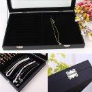 Glass Lid Ring Necklace Bracelet Jewellery Display Storage Box Tray Organiser #*