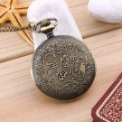 Antique Vintage Retro Bronze Hollowed-out Pendant Chain Necklace Pocket Watch HH