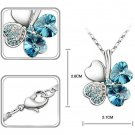 Women Happiness Clover Four Leaf Crystal Pendant Chain Necklace @*
