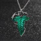 Lord of The Rings Green Leaf Elven Pin Brooch Pendant With Chain Necklace H5