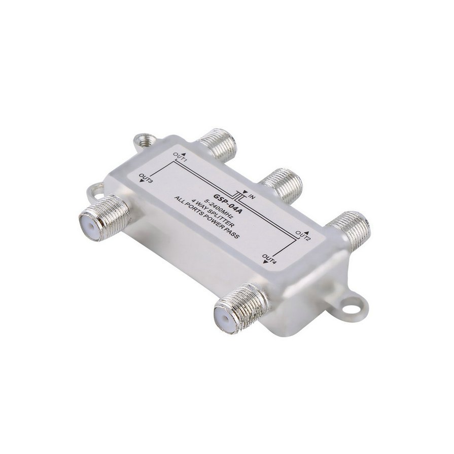 4 Way Satellite/Antenna/Cable TV Splitter Distributor 5-2400MHz F Type HS
