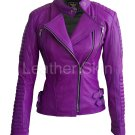 Women Purple Genuine Leather Jacket