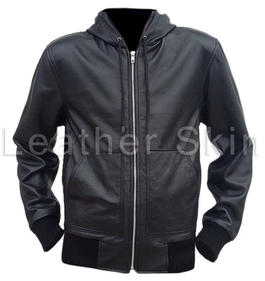 Men Black Hooded Hoodie  Leather Jacket