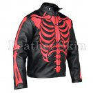 Men Black Red Skeleton Biker Motorcycle Leather Jacket