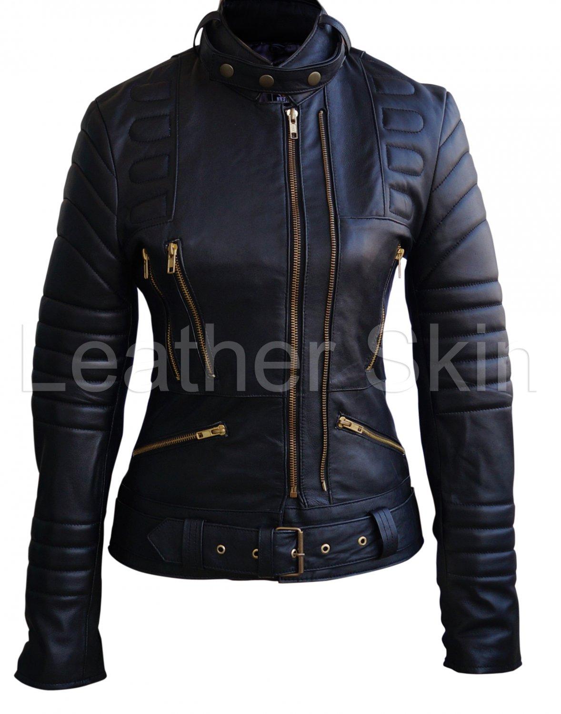 Women Black Brando Padded  Leather Jacket