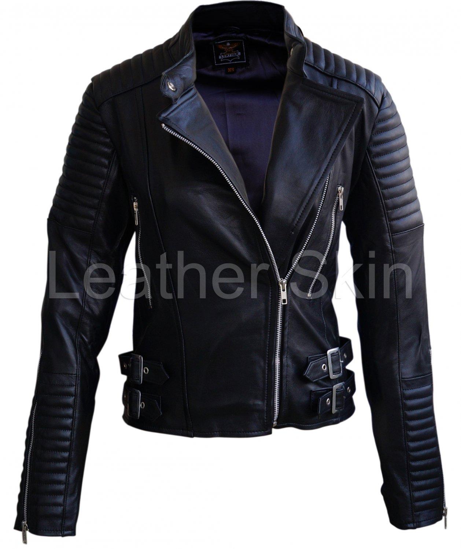 Women Black Brando Shoulder Padded Leather Jacket