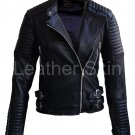 Women Black Brando Shoulder Padded Leather Jacket