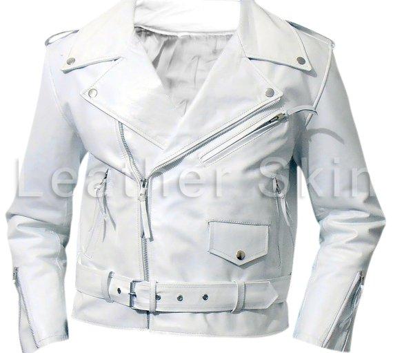Men White Brando Biker Motorcycle Leather Jacket