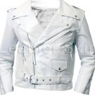 Men White Brando Biker Motorcycle Leather Jacket
