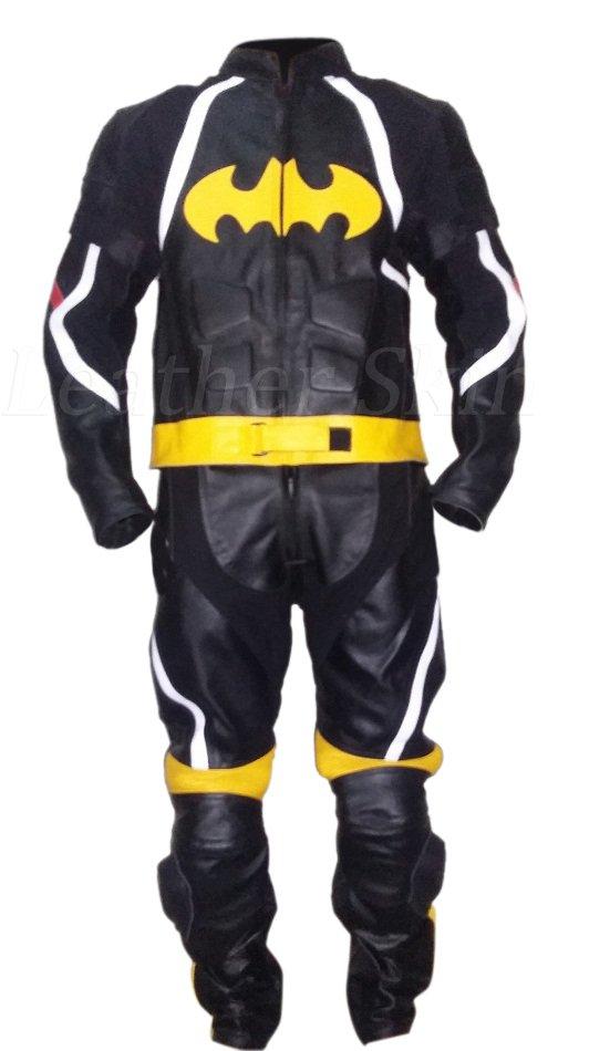 Batman Style Men Black Biker Motorcycle Leather Suit