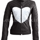 Women Love Black White Heart Quilted Leather Jacket