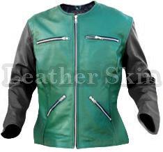 Women Green Collarless Black Sleeves Leather Jacket