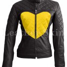 Women Love Black Yellow Heart Quilted Leather Jacket
