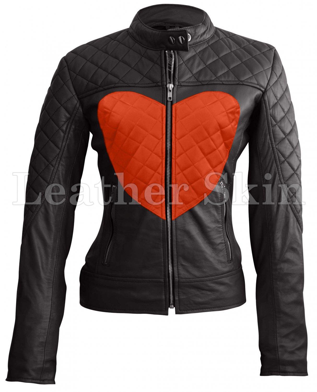 Women Love Black Orange Heart Quilted Leather Jacket