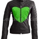 Women Love Black Green Heart Quilted Leather Jacket