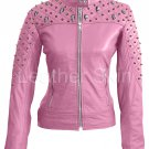 Women Pink Spike Skeleton Studs  Leather Jacket