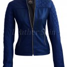 Women Blue Quilted Collarless Leather Jacket