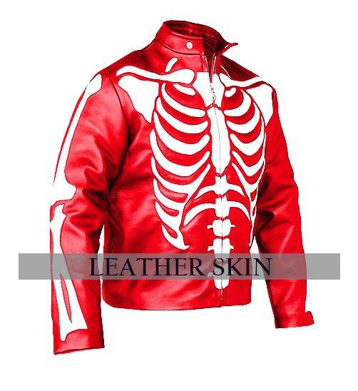 Men Red Skeleton Biker Motorcycle Leather Jacket