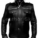 Men Black Leather Jacket with Front Pockets