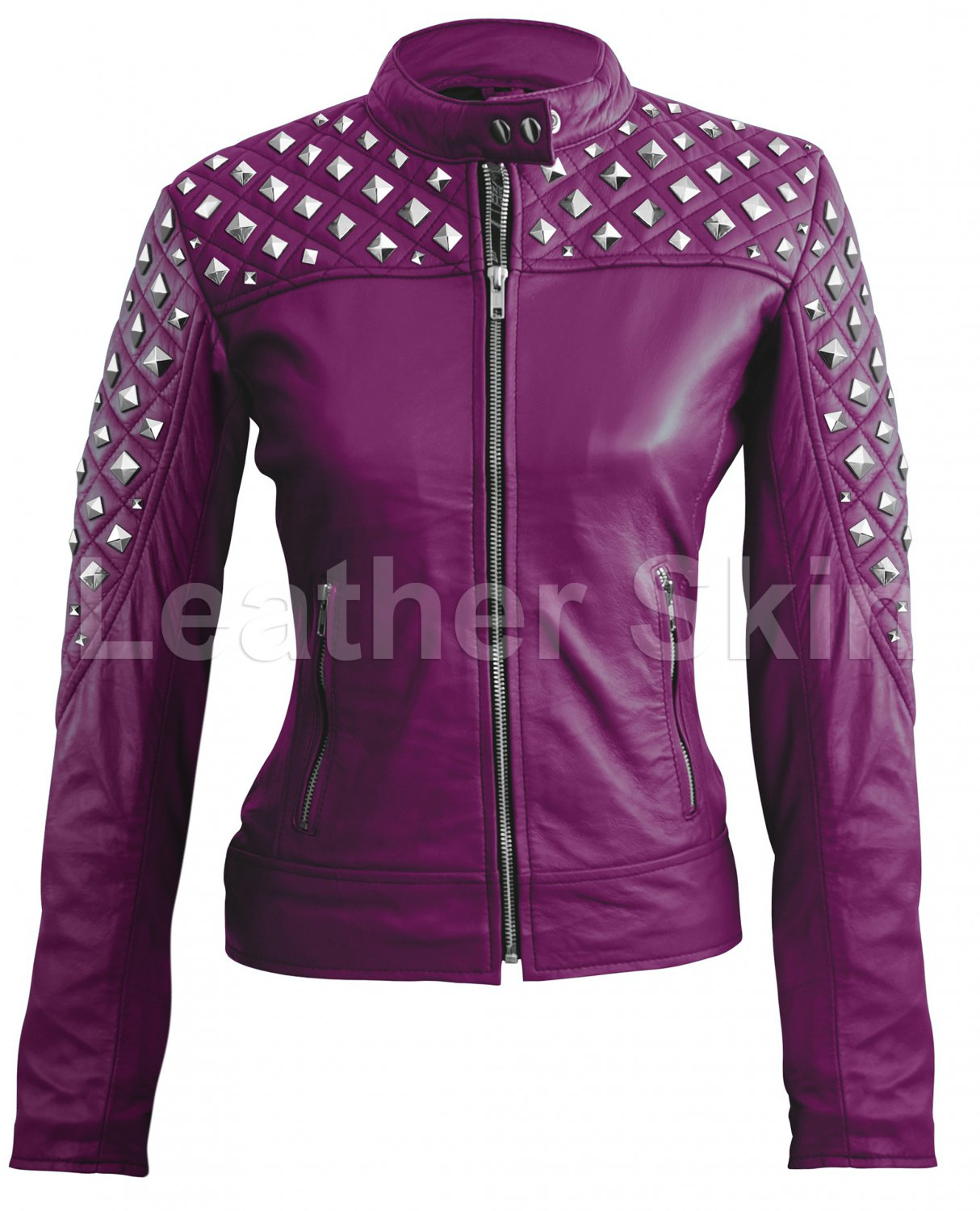Women Purple Spike Studded Quilted Leather Jacket