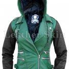 Women Detachable Hood Green Genuine Leather Jacket