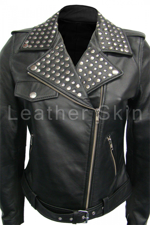 Women Brando Black Studded Genuine Leather Jacket