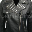 Women Brando Black Studded Genuine Leather Jacket