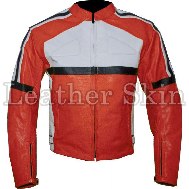 Orange Biker Motorcycle Racing Leather Jacket
