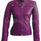 Women Purple Quilted Gold Stud Skeletons Leather Jacket