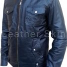 Men Black Biker Motorcycle Genuine Leather Jacket