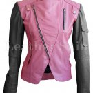 Women Pink Black Sleeve Shoulder Quilted Leather Jacket