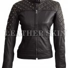 Women Black Quilted Gold Studs Genuine Leather Jacket