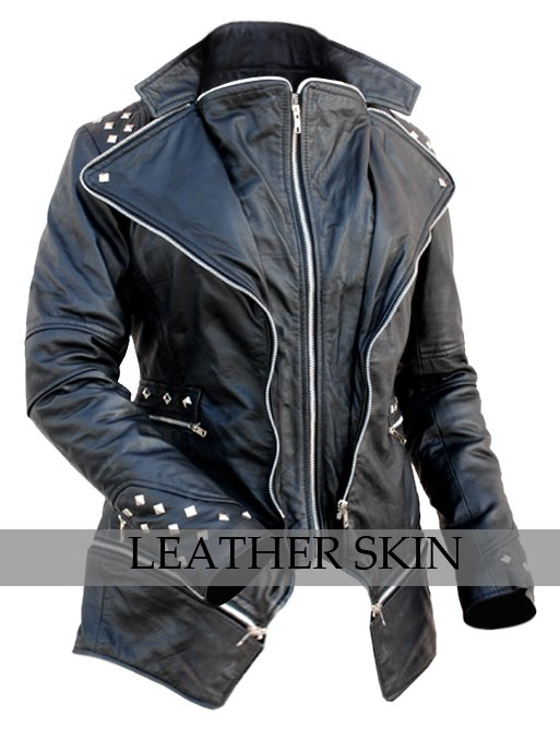 Women Black Punk Spike Studded Genuine Leather Jacket