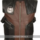 Hawkeye Men Black Brown Leather Vest