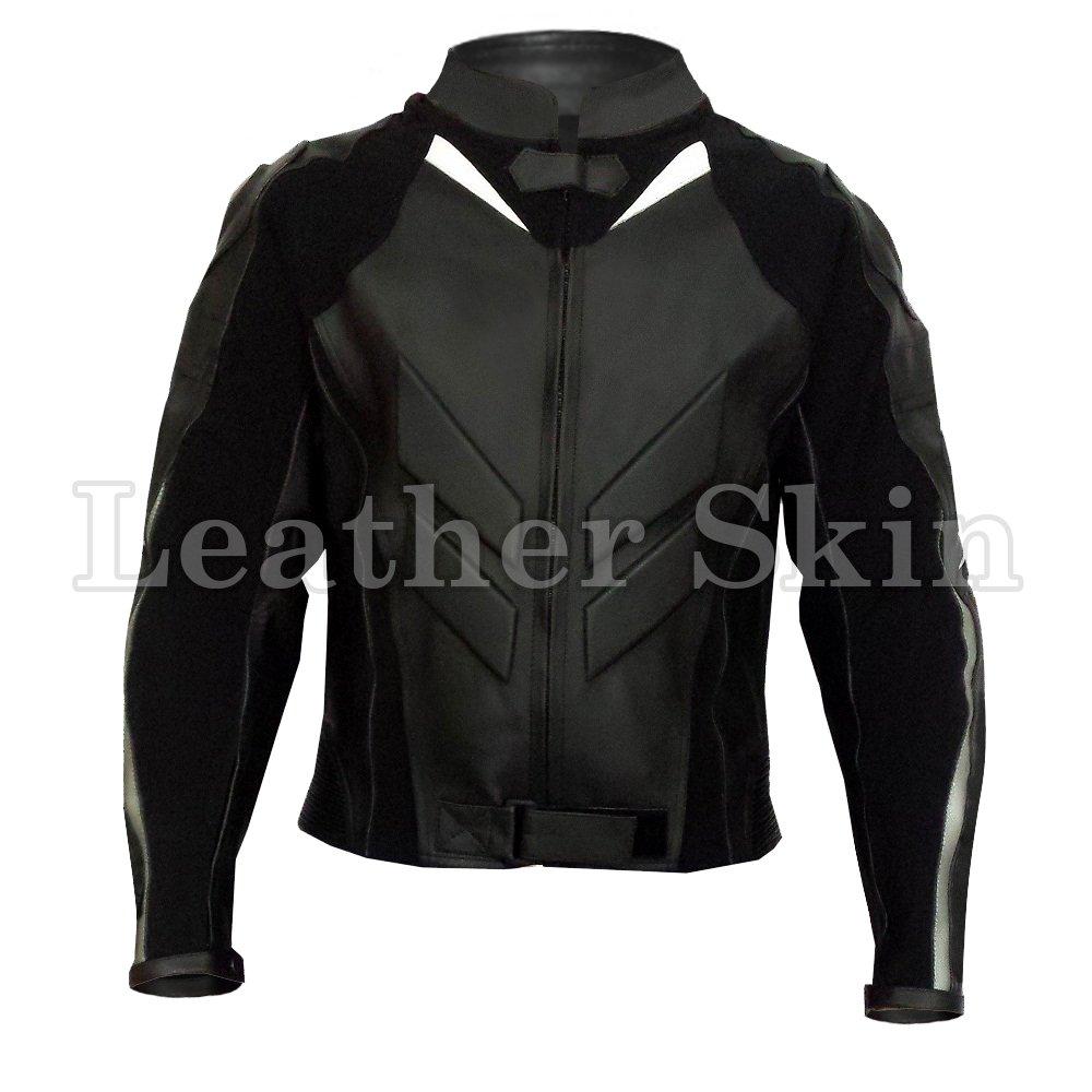 Black Motorcycle Biker Racing  Leather Jacket