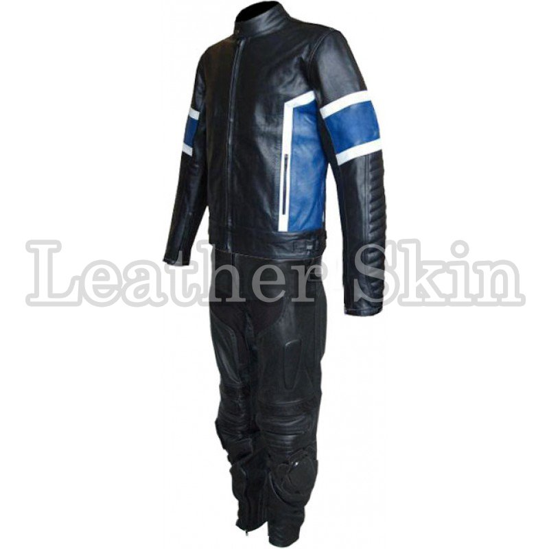 Black Blue Stripes Biker Motorcycle Leather Suit