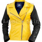 Women Yellow Black Sleeves Quilted Leather Jacket