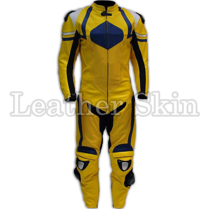Yellow Black Biker Motorcycle Leather Suit