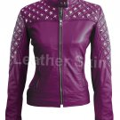 Women Purple Star Silver Studs Quilted Leather Jacket