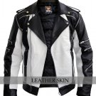 Men Thriller White Black Genuine Leather Jacket