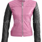 Women Pink Black Shoulder Quilted Leather Jacket