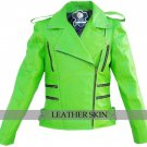 Punk Green Brando Genuine Leather Jacket