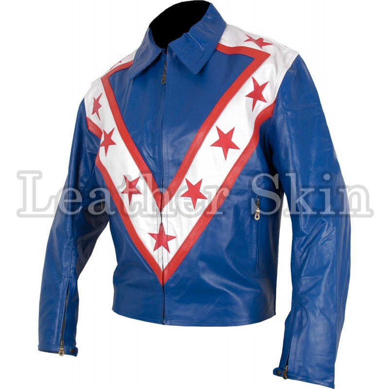 Blue Red Star Stripes Racing Genuine Leather Jacket