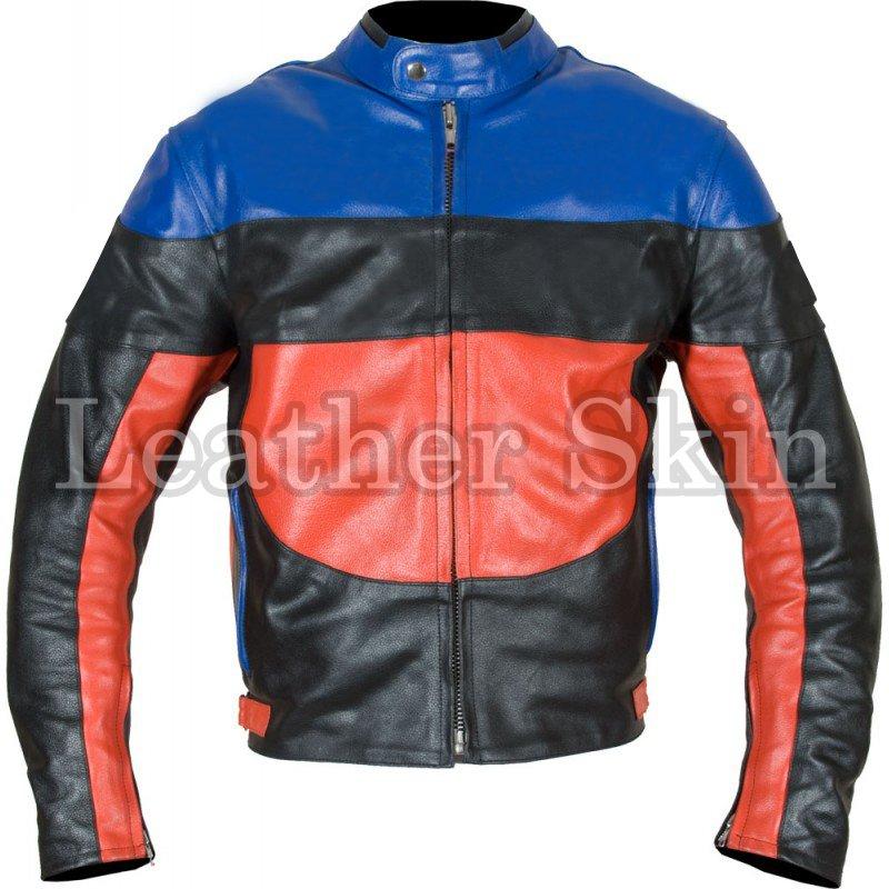 Black Red Blue Biker Motorcycle Racing Leather Jacket
