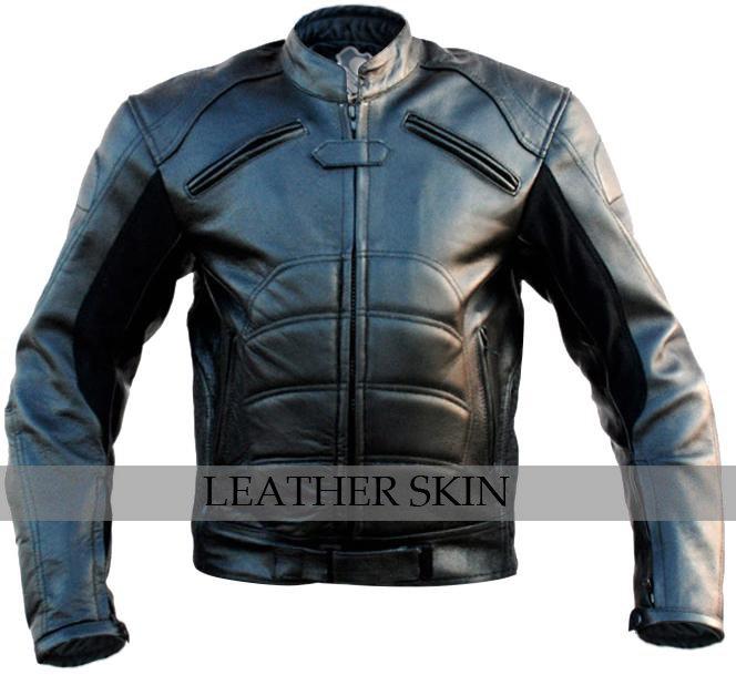 Bat Style Men Black Biker Motorcycle Leather Jacket