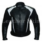 Men Black Biker Motorcycle Racing Genuine Leather Jacket